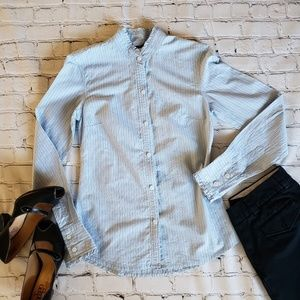 AEO Striped Ruffled Detailed Button Down 2